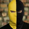 Bivakmuts Zwart Geel Verticaal