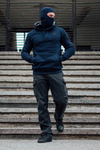 De navy full face hoodie frontline van PGwear bestel je natuurlijk bij PGwear Nederland, de officiële webshop voor Nederland en België